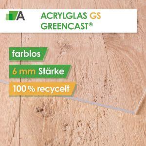 Acrylglas GS Greencast® Stärke 6 mm farblos - 100% recycelt