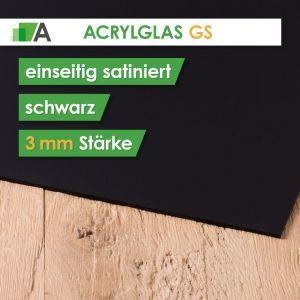 Acrylglas GS Stärke 3 mm einseitig satiniert schwarz
