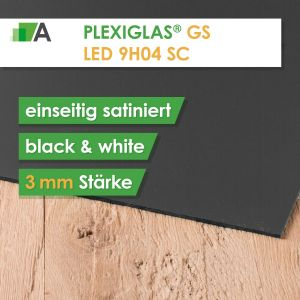 PLEXIGLAS® GS LED black & white 9H04 SC einseitig satiniert Stärke 3 mm für LED Hinterleuchtung