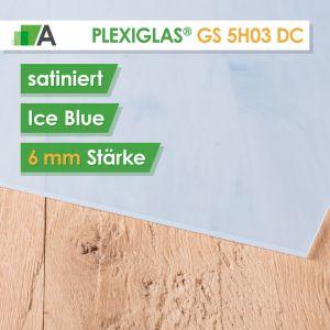 PLEXIGLAS® GS Satinice Stärke 6 mm beidseitig satiniert blau / ice blue 5H03 DC