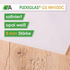 PLEXIGLAS® GS Satinice WH10 DC weiß / snow Stärke 8 mm satiniert