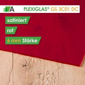 PLEXIGLAS® GS Satinice Stärke 6 mm beidseitig satiniert rot / cherry 3C01 DC